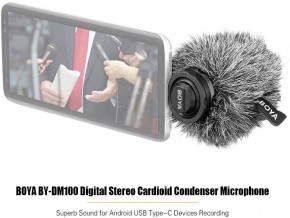 BOYA BY-DM100 Digital Stereo Cardioid Condenser Microphone Superb-Sound for Android USB Type-C Devices Recording