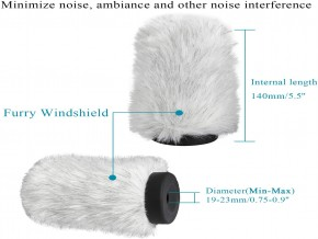 BOYA BY-P140 Furry Outdoor Interview Windshield Muff for Shotgun Capacitor Microphones (Inside Depth 5.6'') (BY-P140)